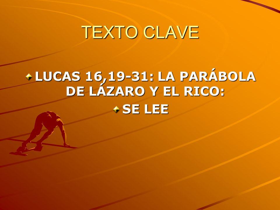 TEXTO CLAVE LUCAS 16,19-31: LA PARÁBOLA DE LÁZARO Y EL RICO: SE LEE