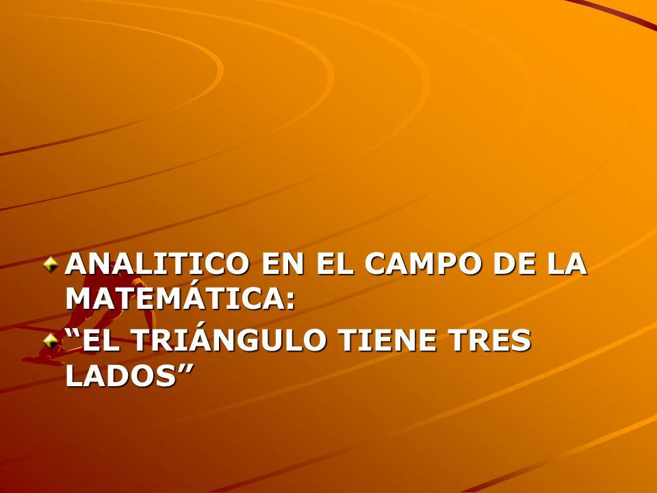 ANALITICO EN EL CAMPO DE LA MATEMÁTICA: EL TRIÁNGULO TIENE TRES LADOS
