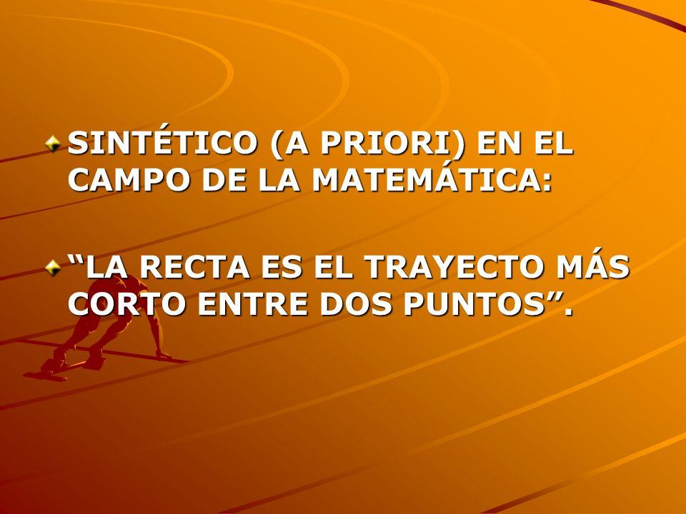 SINTÉTICO (A PRIORI) EN EL CAMPO DE LA MATEMÁTICA: LA RECTA ES EL TRAYECTO MÁS CORTO ENTRE DOS PUNTOS.
