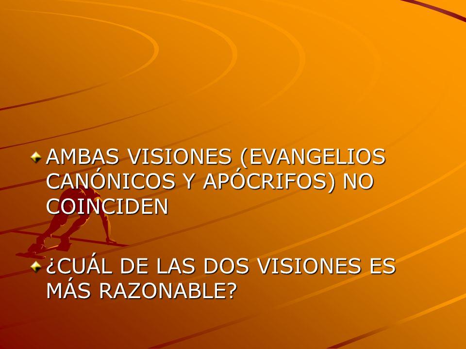 AMBAS VISIONES (EVANGELIOS CANÓNICOS Y APÓCRIFOS) NO COINCIDEN ¿CUÁL DE LAS DOS VISIONES ES MÁS RAZONABLE?