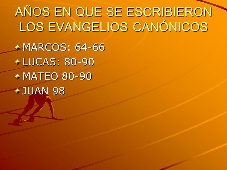 AÑOS EN QUE SE ESCRIBIERON LOS EVANGELIOS CANÓNICOS MARCOS: 64-66 LUCAS: 80-90 MATEO 80-90 JUAN 98