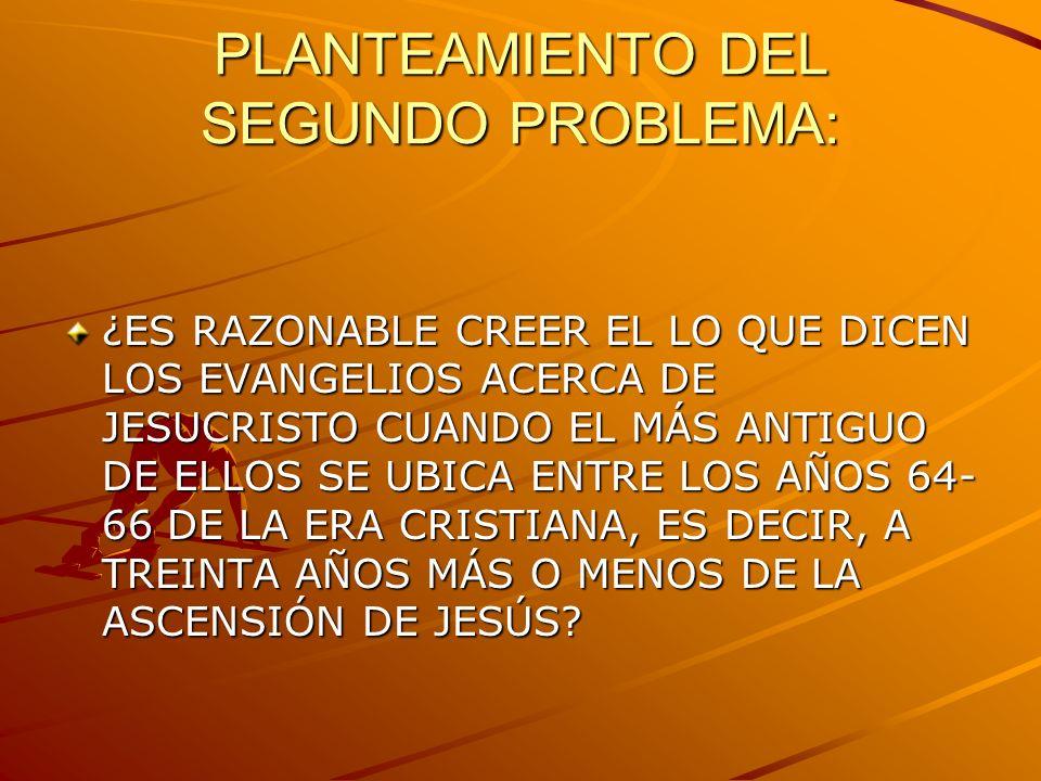 PLANTEAMIENTO DEL SEGUNDO PROBLEMA: ¿ES RAZONABLE CREER EL LO QUE DICEN LOS EVANGELIOS ACERCA DE JESUCRISTO CUANDO EL MÁS ANTIGUO DE ELLOS SE UBICA EN