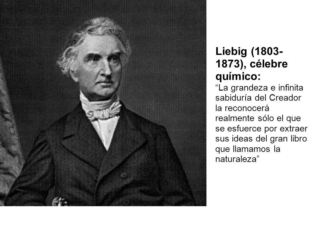 Liebig (1803- 1873), célebre químico: La grandeza e infinita sabiduría del Creador la reconocerá realmente sólo el que se esfuerce por extraer sus ide