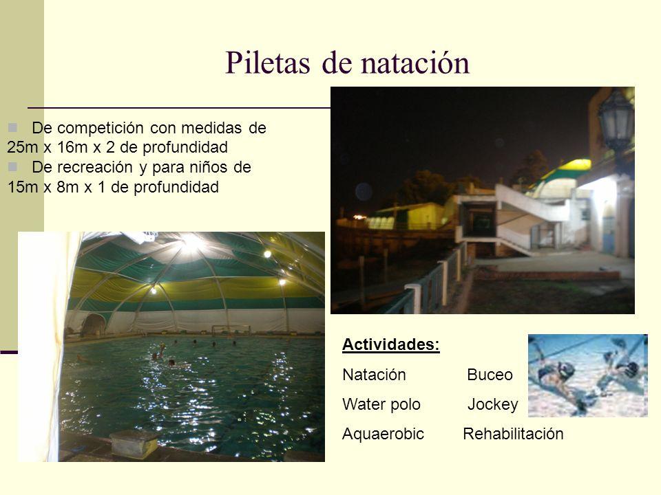 Piletas de natación De competición con medidas de 25m x 16m x 2 de profundidad De recreación y para niños de 15m x 8m x 1 de profundidad Actividades: Natación Buceo Water polo Jockey Aquaerobic Rehabilitación