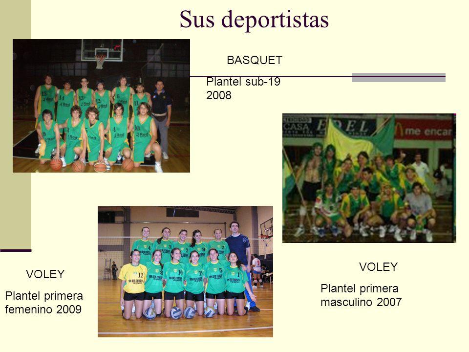 Sus deportistas VOLEY Plantel primera masculino 2007 VOLEY Plantel primera femenino 2009 BASQUET Plantel sub-19 2008