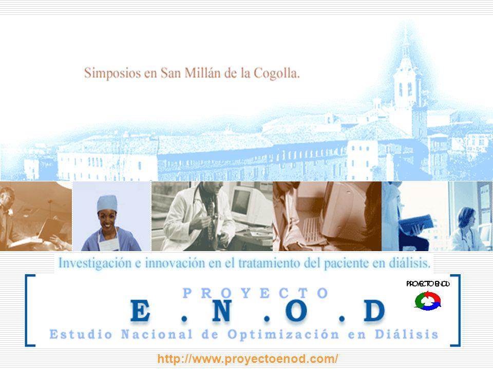 CENTROS PARTICIPANTES Fundación Puigvert...............................................................Dr Enric Andrés Hospital San Millán................................................................Dra Milagros Sierra NefroRioja................................................................................Dr Antonio Gil Hospital fundación Calahorra................................................Dr Francisco Martín Ciudad Universitaria y Sanitaria de Bellvitge......................Dr Alberto Castelao Hospital San Jorge.................................................................Dr J Logroño Hospital Virgen de Aránzazu.................................................Dr Fernando Vidaur Hospital de Castellón.............................................................Dr Francisco Maduell Hospital Juan XXIII.................................................................Dr Oliver Rotellar Hospital de Gandía.................................................................Dr Enrique Garrigós Hospital Trueta.......................................................................Dr JM Mauri Hospital de Palamós..............................................................Dr JM Galcerán Hospital Universitario Lozano Blesa....................................Dr Rafael Alvarez Meridial....................................................................................Dra Bárbara Cancho