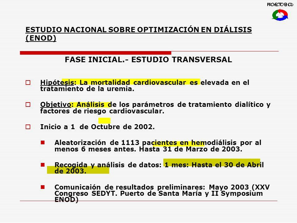 ESTUDIO NACIONAL SOBRE OPTIMIZACIÓN EN DIÁLISIS (ENOD) FASE INICIAL.- ESTUDIO TRANSVERSAL Hipótesis: La mortalidad cardiovascular es elevada en el tratamiento de la uremia.