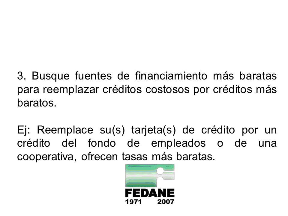 3. Busque fuentes de financiamiento más baratas para reemplazar créditos costosos por créditos más baratos. Ej: Reemplace su(s) tarjeta(s) de crédito