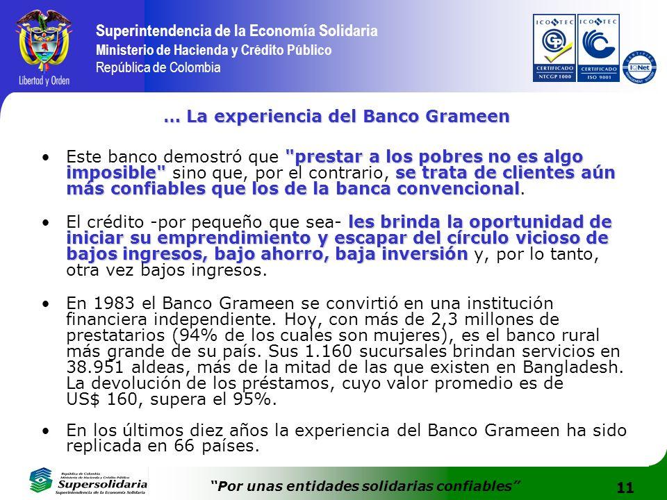 11 Superintendencia de la Economía Solidaria Ministerio de Hacienda y Crédito Público República de Colombia Por unas entidades solidarias confiables …
