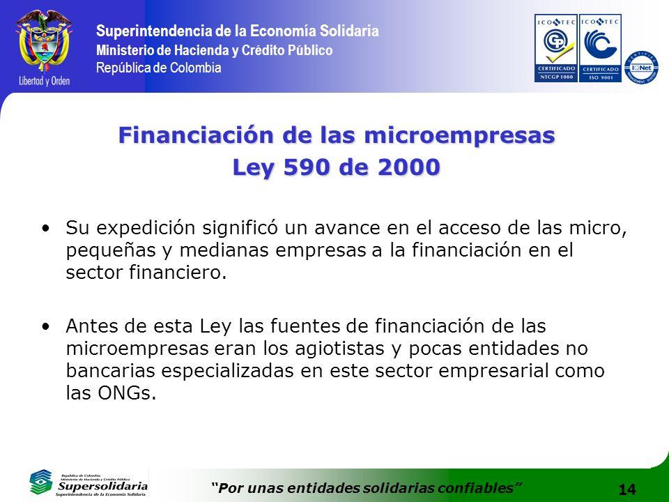 14 Superintendencia de la Economía Solidaria Ministerio de Hacienda y Crédito Público República de Colombia Por unas entidades solidarias confiables F