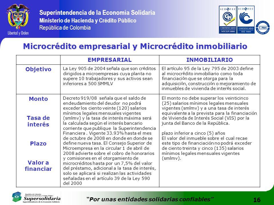 16 Superintendencia de la Economía Solidaria Ministerio de Hacienda y Crédito Público República de Colombia Por unas entidades solidarias confiables M