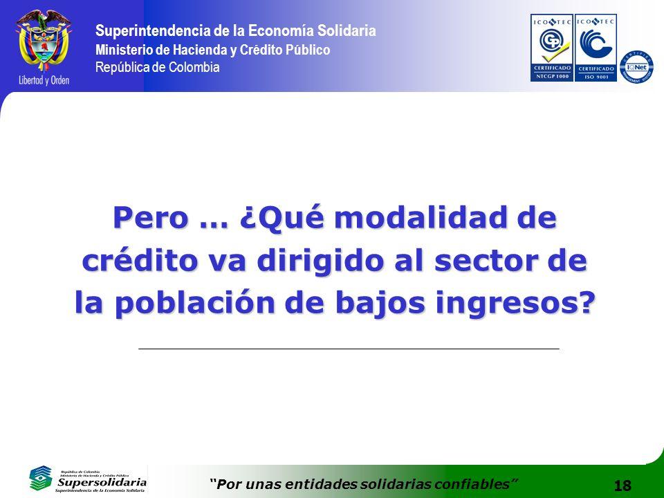 18 Superintendencia de la Economía Solidaria Ministerio de Hacienda y Crédito Público República de Colombia Por unas entidades solidarias confiables P