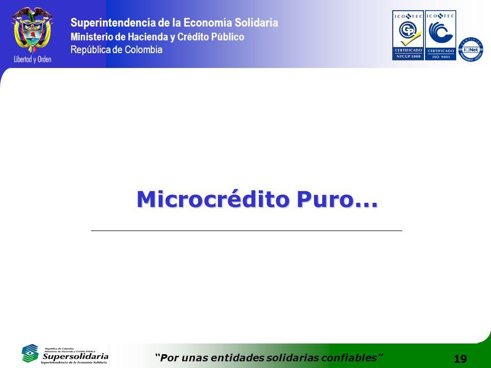 19 Superintendencia de la Economía Solidaria Ministerio de Hacienda y Crédito Público República de Colombia Por unas entidades solidarias confiables M