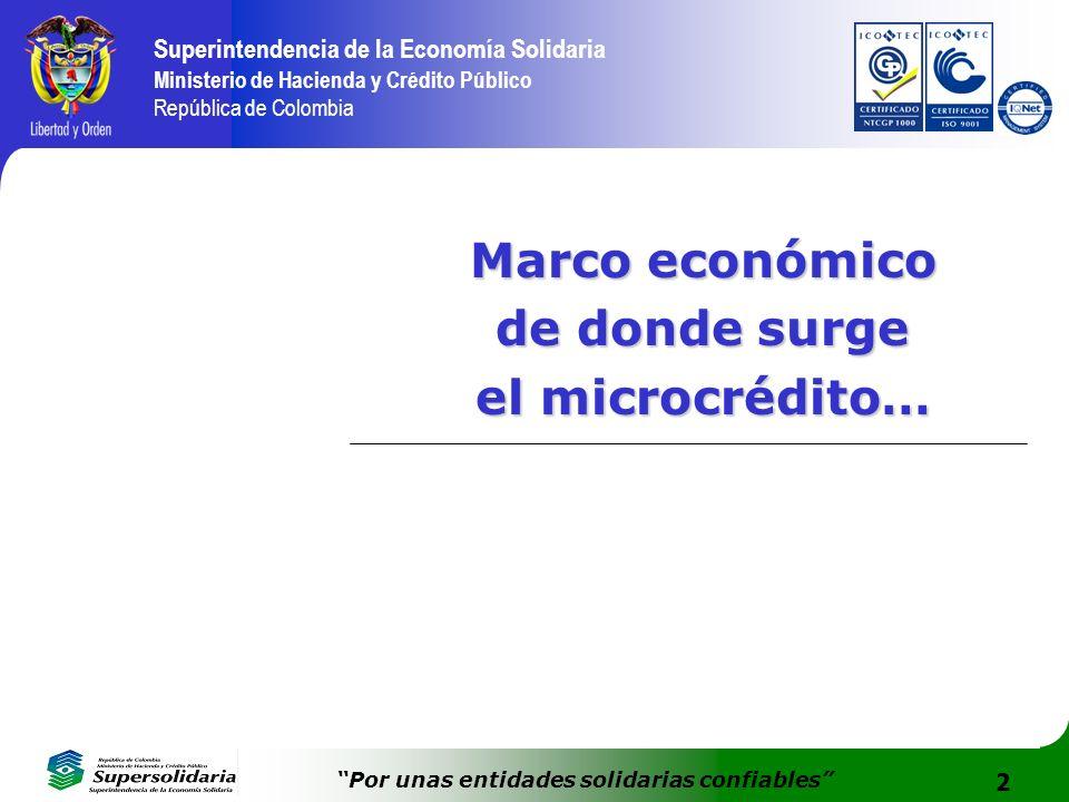 2 Superintendencia de la Economía Solidaria Ministerio de Hacienda y Crédito Público República de Colombia Por unas entidades solidarias confiables Ma