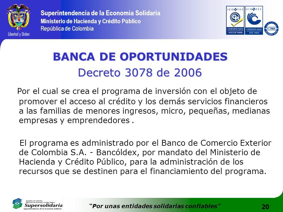 20 Superintendencia de la Economía Solidaria Ministerio de Hacienda y Crédito Público República de Colombia Por unas entidades solidarias confiables B