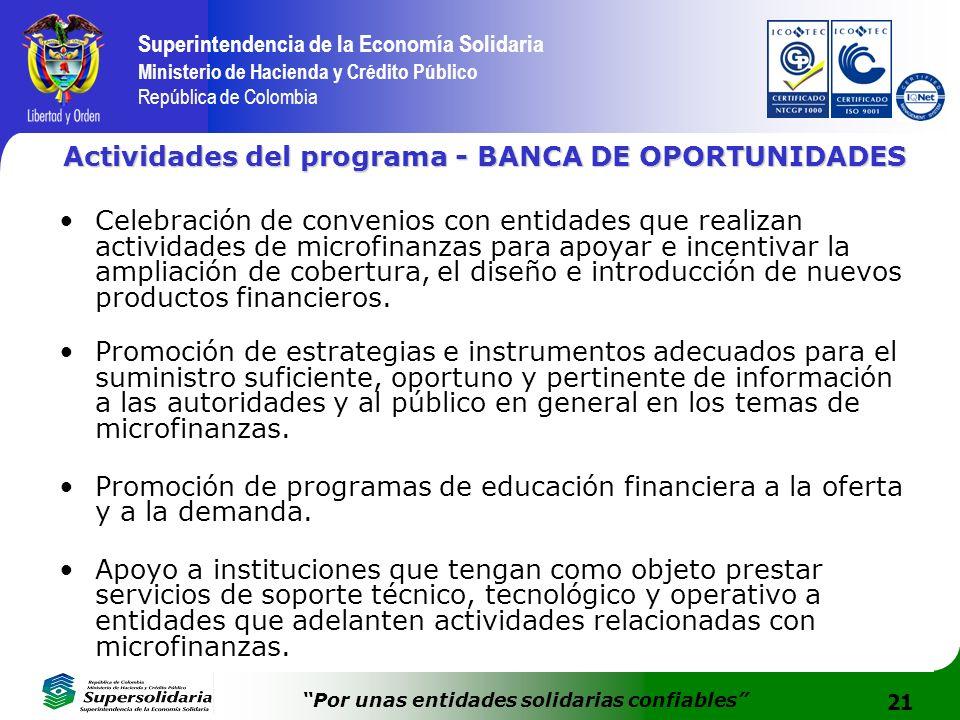 21 Superintendencia de la Economía Solidaria Ministerio de Hacienda y Crédito Público República de Colombia Por unas entidades solidarias confiables A