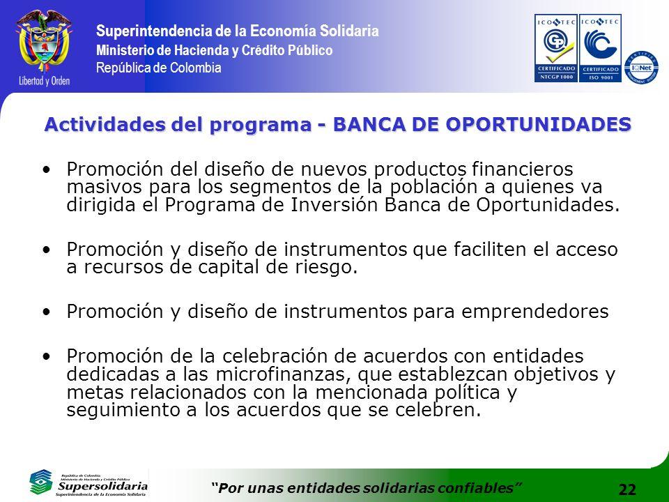 22 Superintendencia de la Economía Solidaria Ministerio de Hacienda y Crédito Público República de Colombia Por unas entidades solidarias confiables A