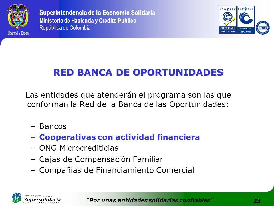 23 Superintendencia de la Economía Solidaria Ministerio de Hacienda y Crédito Público República de Colombia Por unas entidades solidarias confiables R
