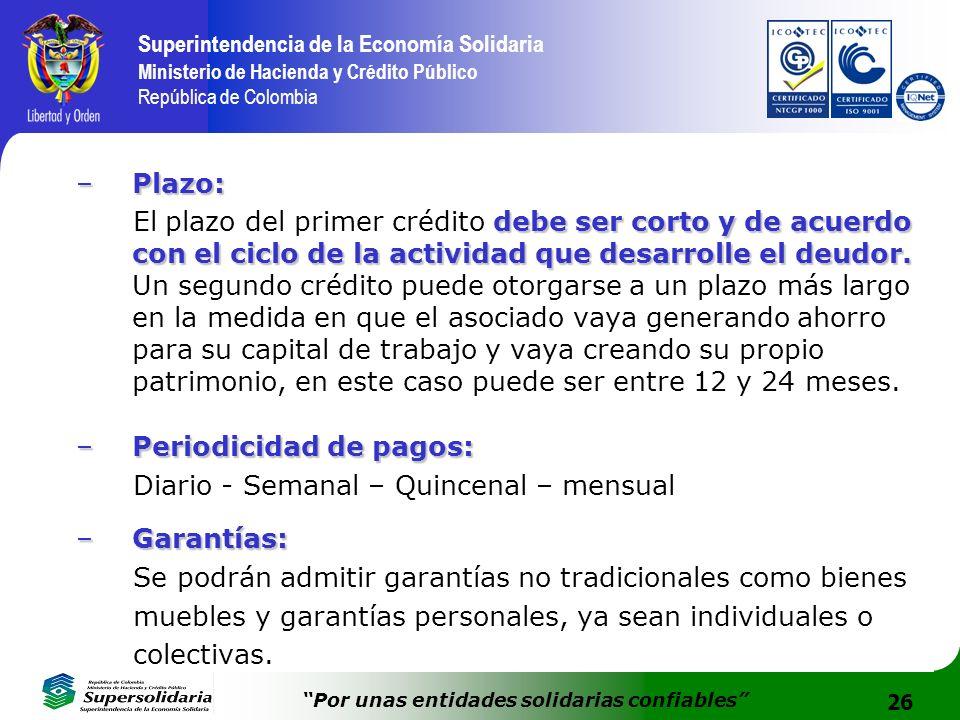 26 Superintendencia de la Economía Solidaria Ministerio de Hacienda y Crédito Público República de Colombia Por unas entidades solidarias confiables –