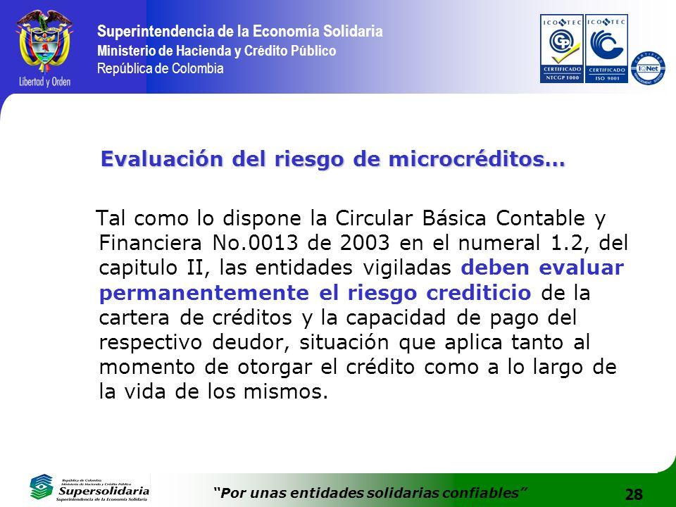 28 Superintendencia de la Economía Solidaria Ministerio de Hacienda y Crédito Público República de Colombia Por unas entidades solidarias confiables E