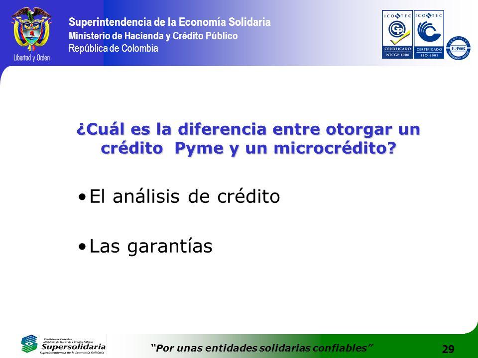 29 Superintendencia de la Economía Solidaria Ministerio de Hacienda y Crédito Público República de Colombia Por unas entidades solidarias confiables ¿