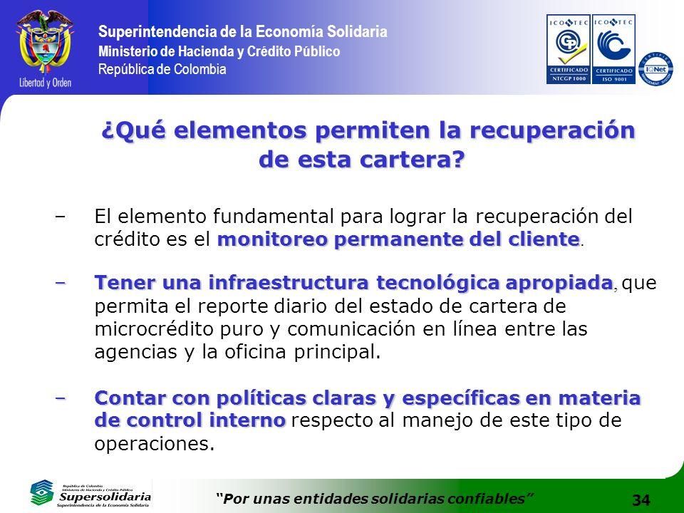 34 Superintendencia de la Economía Solidaria Ministerio de Hacienda y Crédito Público República de Colombia Por unas entidades solidarias confiables ¿