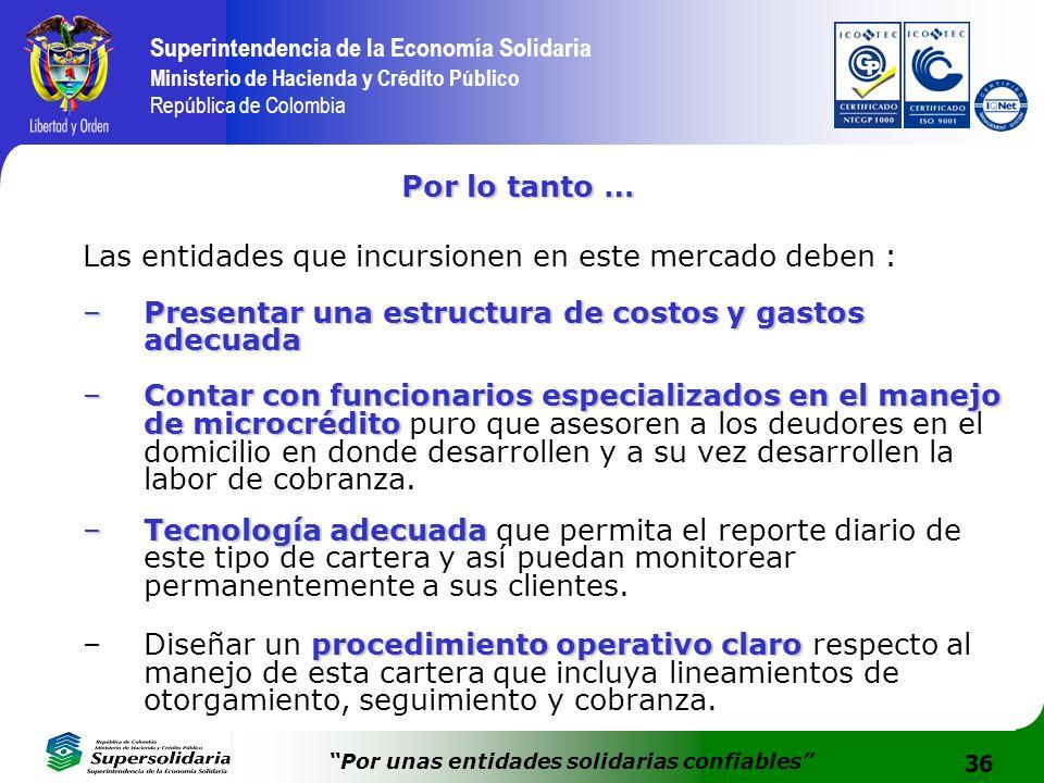 36 Superintendencia de la Economía Solidaria Ministerio de Hacienda y Crédito Público República de Colombia Por unas entidades solidarias confiables P