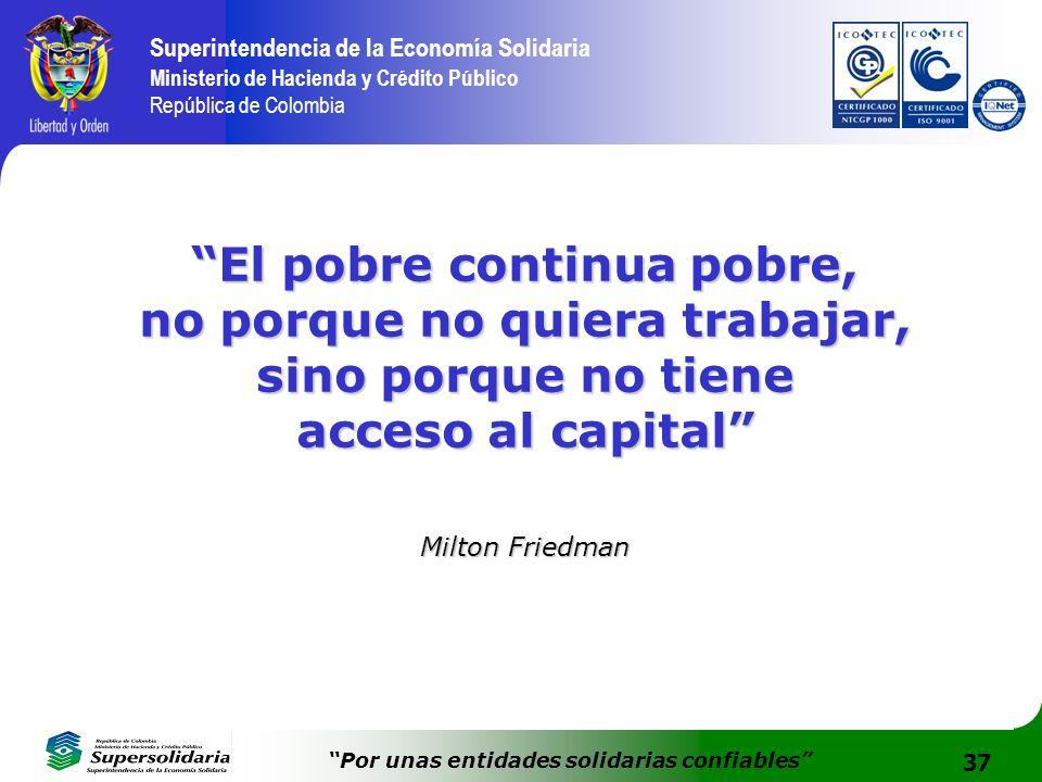 37 Superintendencia de la Economía Solidaria Ministerio de Hacienda y Crédito Público República de Colombia Por unas entidades solidarias confiables E