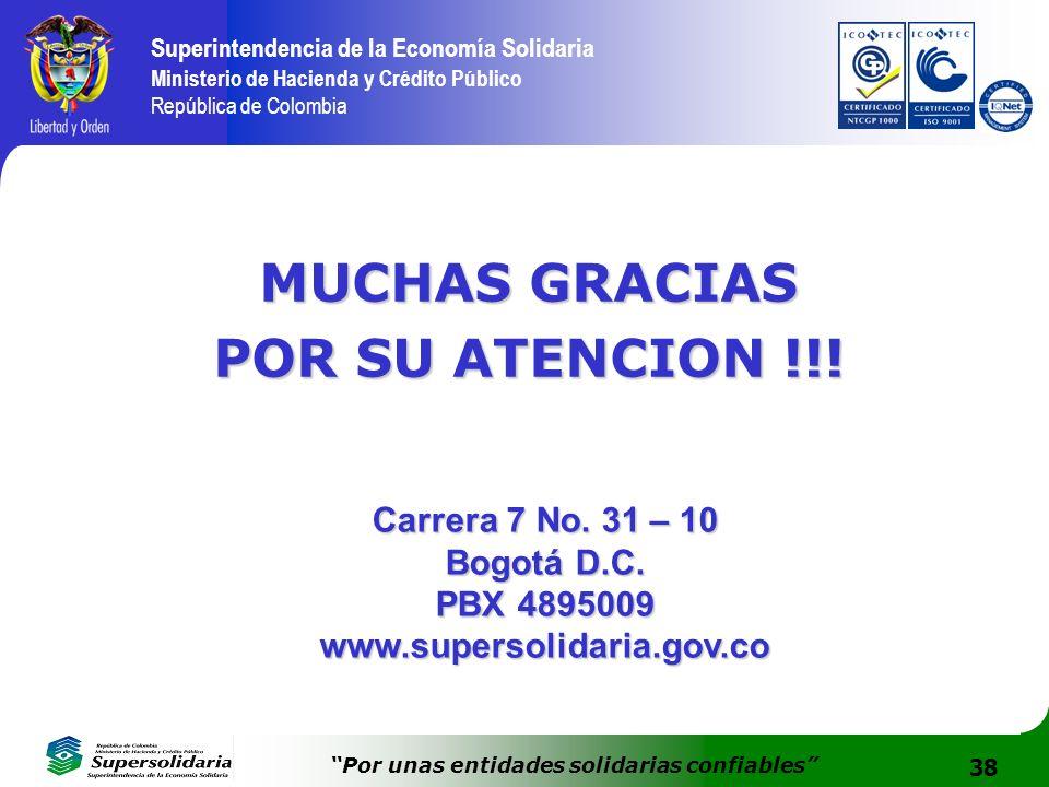 38 Superintendencia de la Economía Solidaria Ministerio de Hacienda y Crédito Público República de Colombia Por unas entidades solidarias confiables M