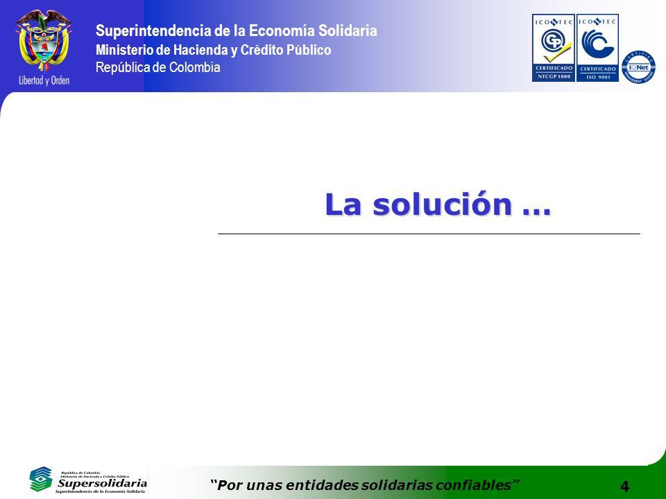 4 Superintendencia de la Economía Solidaria Ministerio de Hacienda y Crédito Público República de Colombia Por unas entidades solidarias confiables La