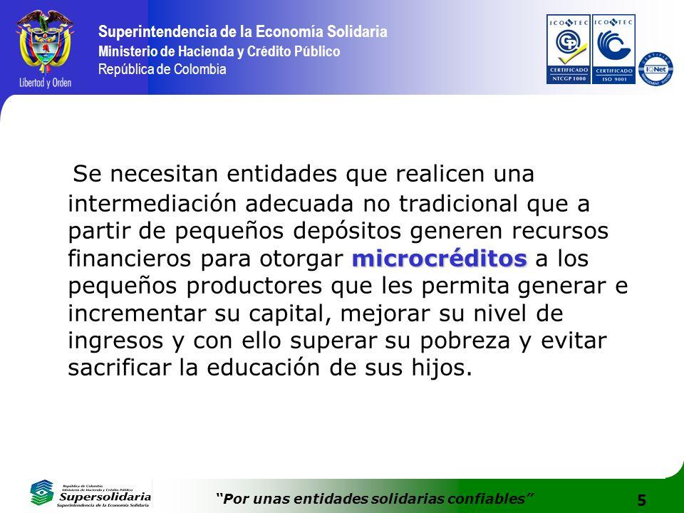 5 Superintendencia de la Economía Solidaria Ministerio de Hacienda y Crédito Público República de Colombia Por unas entidades solidarias confiables mi