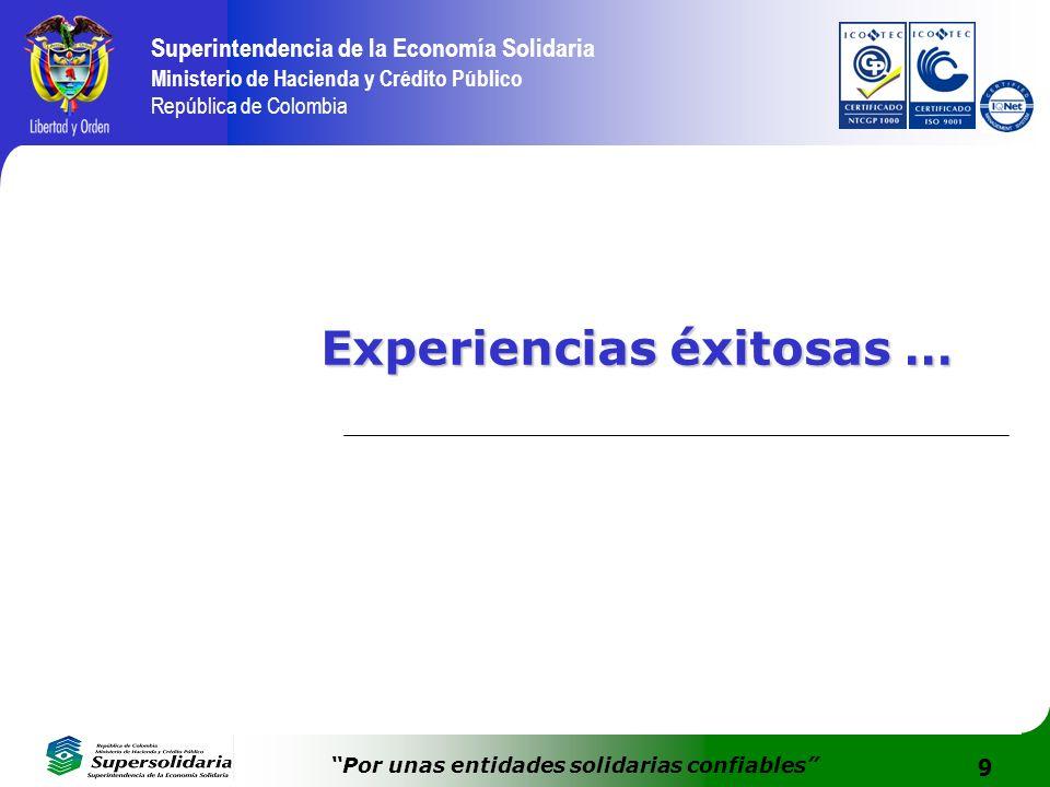 9 Superintendencia de la Economía Solidaria Ministerio de Hacienda y Crédito Público República de Colombia Por unas entidades solidarias confiables Ex