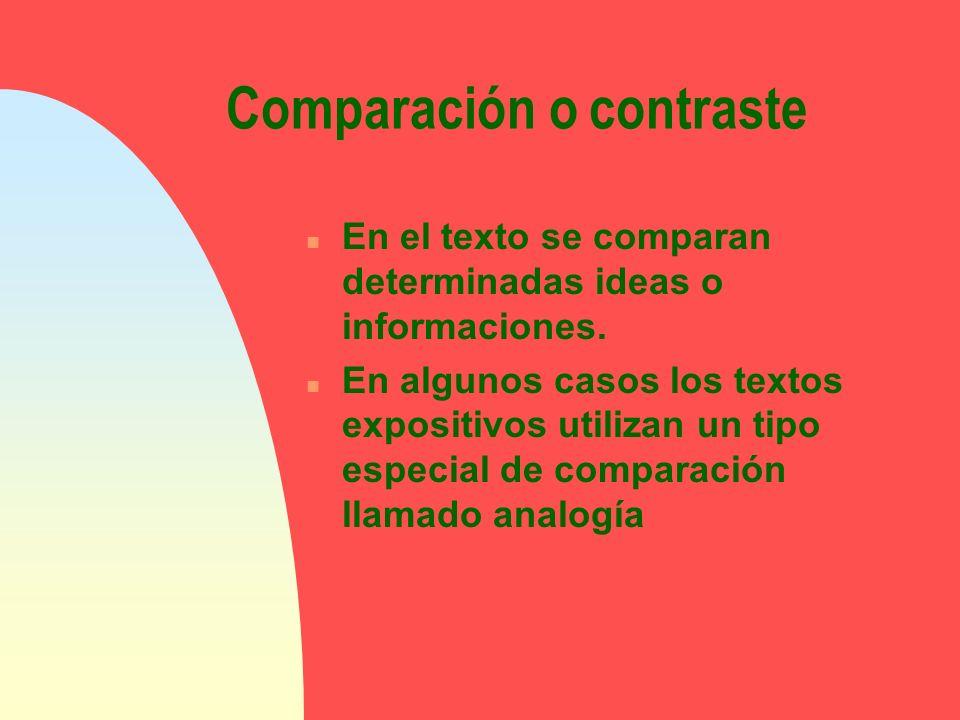 Comparación o contraste n En el texto se comparan determinadas ideas o informaciones. n En algunos casos los textos expositivos utilizan un tipo espec