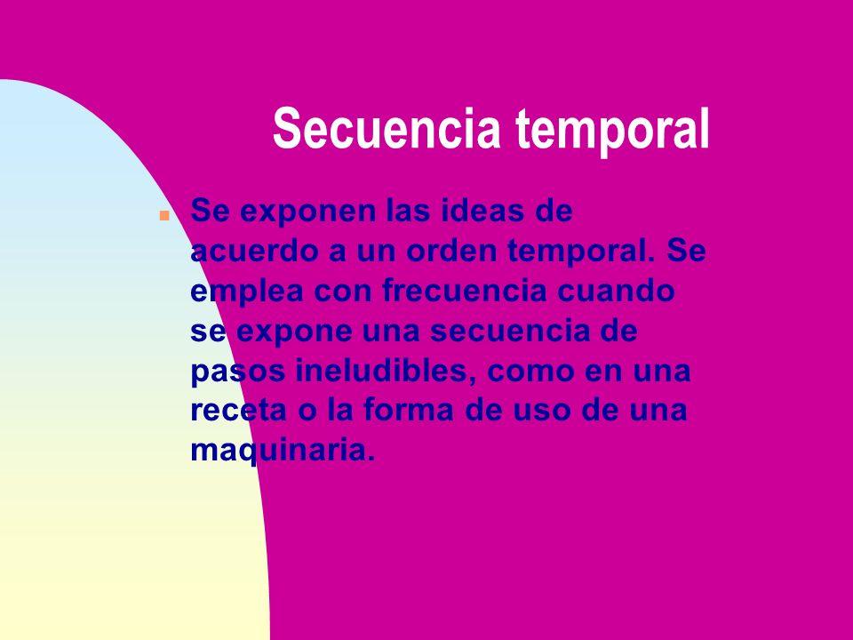 Secuencia temporal n Se exponen las ideas de acuerdo a un orden temporal. Se emplea con frecuencia cuando se expone una secuencia de pasos ineludibles