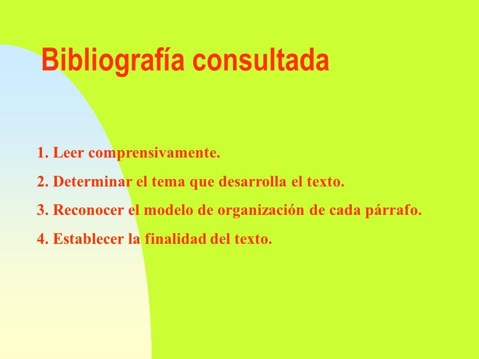 Bibliografía consultada 1. Leer comprensivamente. 2. Determinar el tema que desarrolla el texto. 3. Reconocer el modelo de organización de cada párraf