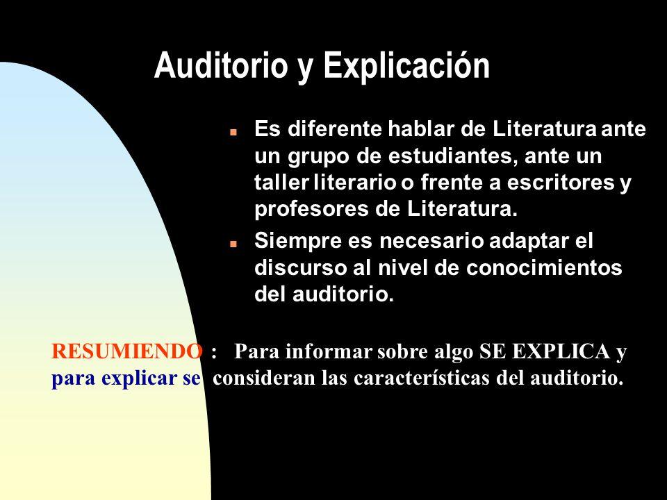 Auditorio y Explicación n Es diferente hablar de Literatura ante un grupo de estudiantes, ante un taller literario o frente a escritores y profesores