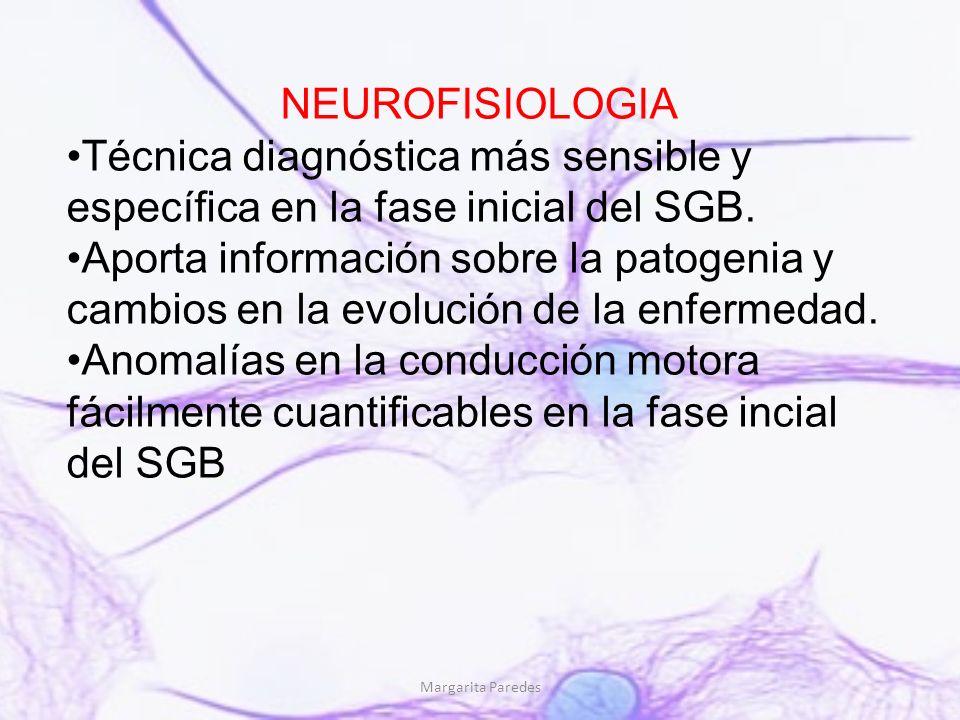 Margarita Paredes NEUROFISIOLOGIA Técnica diagnóstica más sensible y específica en la fase inicial del SGB. Aporta información sobre la patogenia y ca