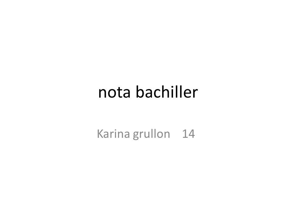 nota bachiller Karina grullon 14