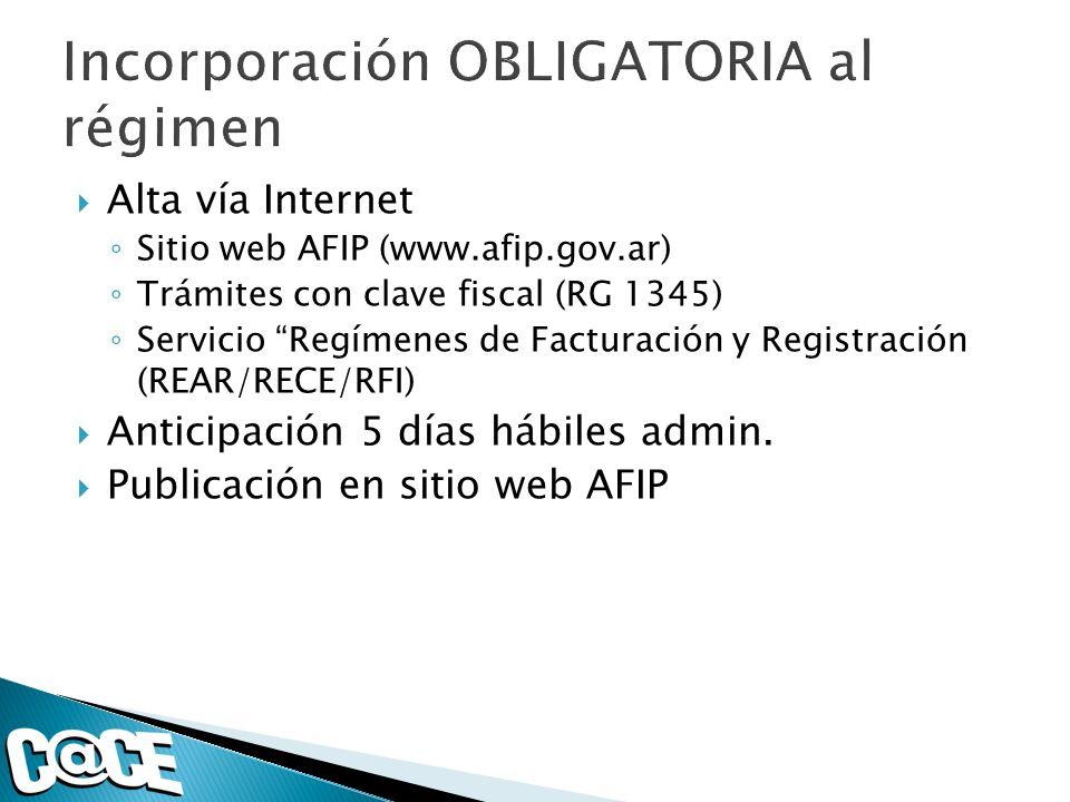 Alta vía Internet Sitio web AFIP (www.afip.gov.ar) Trámites con clave fiscal (RG 1345) Servicio Regímenes de Facturación y Registración (REAR/RECE/RFI) Anticipación 5 días hábiles admin.