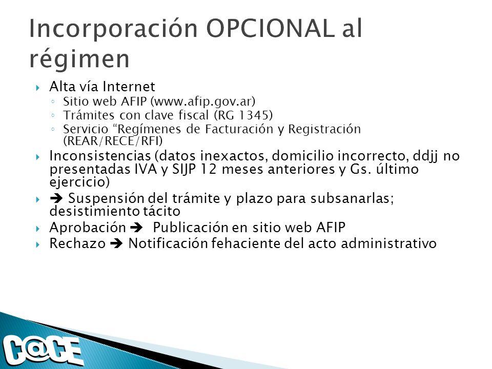 Alta vía Internet Sitio web AFIP (www.afip.gov.ar) Trámites con clave fiscal (RG 1345) Servicio Regímenes de Facturación y Registración (REAR/RECE/RFI) Inconsistencias (datos inexactos, domicilio incorrecto, ddjj no presentadas IVA y SIJP 12 meses anteriores y Gs.