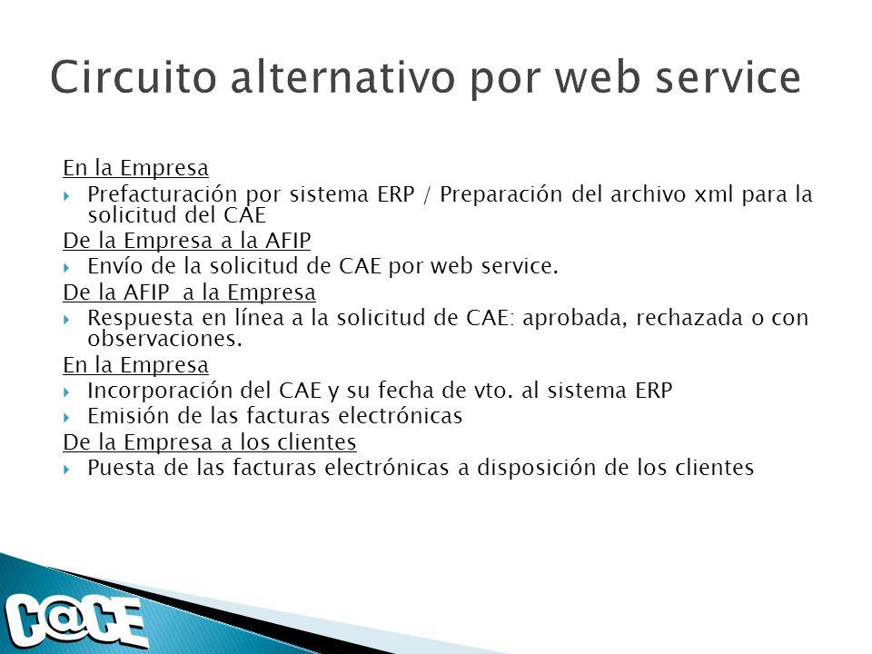 En la Empresa Prefacturación por sistema ERP / Preparación del archivo xml para la solicitud del CAE De la Empresa a la AFIP Envío de la solicitud de CAE por web service.