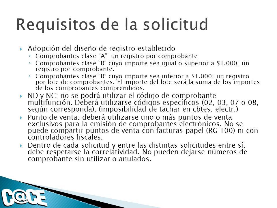 Adopción del diseño de registro establecido Comprobantes clase A: un registro por comprobante Comprobantes clase B cuyo importe sea igual o superior a $1.000: un registro por comprobante.