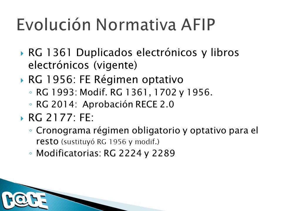 RG 1361 Duplicados electrónicos y libros electrónicos (vigente) RG 1956: FE Régimen optativo RG 1993: Modif.