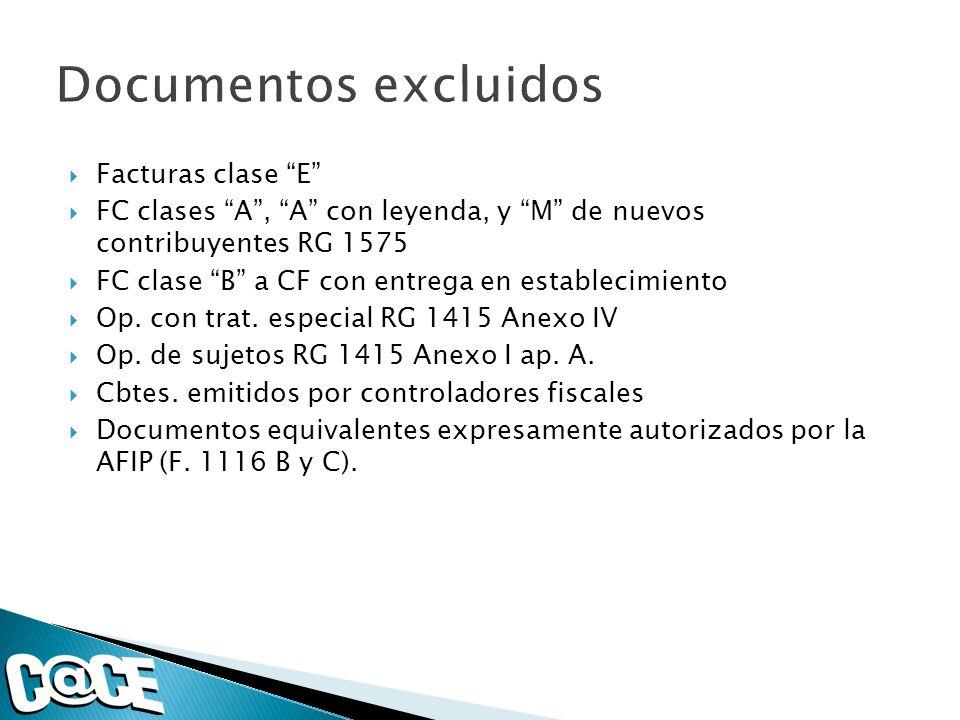 Facturas clase E FC clases A, A con leyenda, y M de nuevos contribuyentes RG 1575 FC clase B a CF con entrega en establecimiento Op.