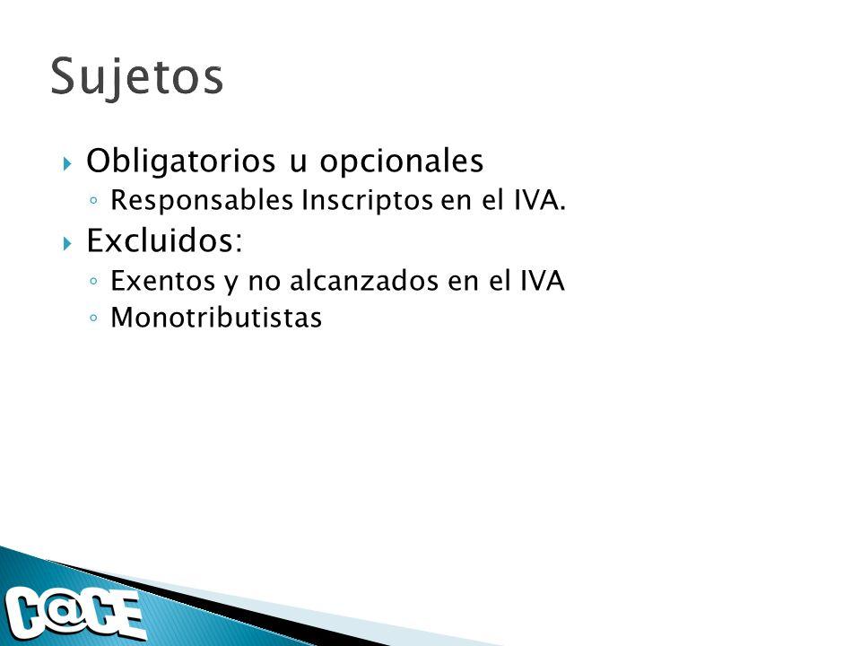 Obligatorios u opcionales Responsables Inscriptos en el IVA.