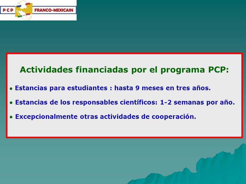 Actividades financiadas por el programa PCP: Estancias para estudiantes : hasta 9 meses en tres años. Estancias de los responsables científicos: 1-2 s