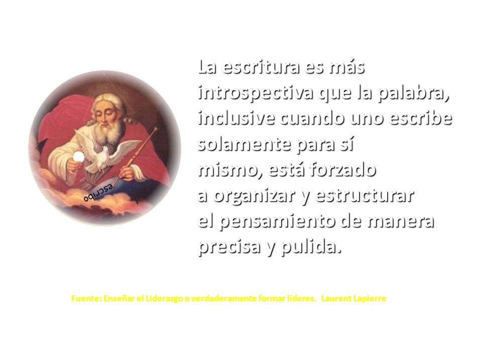 PENSAR DELIBERAR RAZONAR DECIDIR QUERER HACERLO (contenido actitudinal) CONTAR CON EL ACOMPAÑAMIENTO (contenido procedimental) SABER HACERLO (contenido conceptual) PENSAMIENTO CONTINUO (Lenguaje interior) ESCRITURA (Lenguaje escrito) SUBPROCESOS PLANOS COGNITIVOS RELACIÓN ETAPAS CONDICIONES TRANSFORMACIÓN Presilábica Silábica Silábica-Alfabética Alfabética Escribir legible Conocer la normativa Conocer diversidad textual Conocer sobre sintaxis Conocer sobre morfología Conocer el léxico Conocer de ortografía Conocer sobre el significado Planificación Textualización Revisión Publicación 4 ESCRIBIR COMPRENDE… Lectura Leer para tener información que facilite el escribir