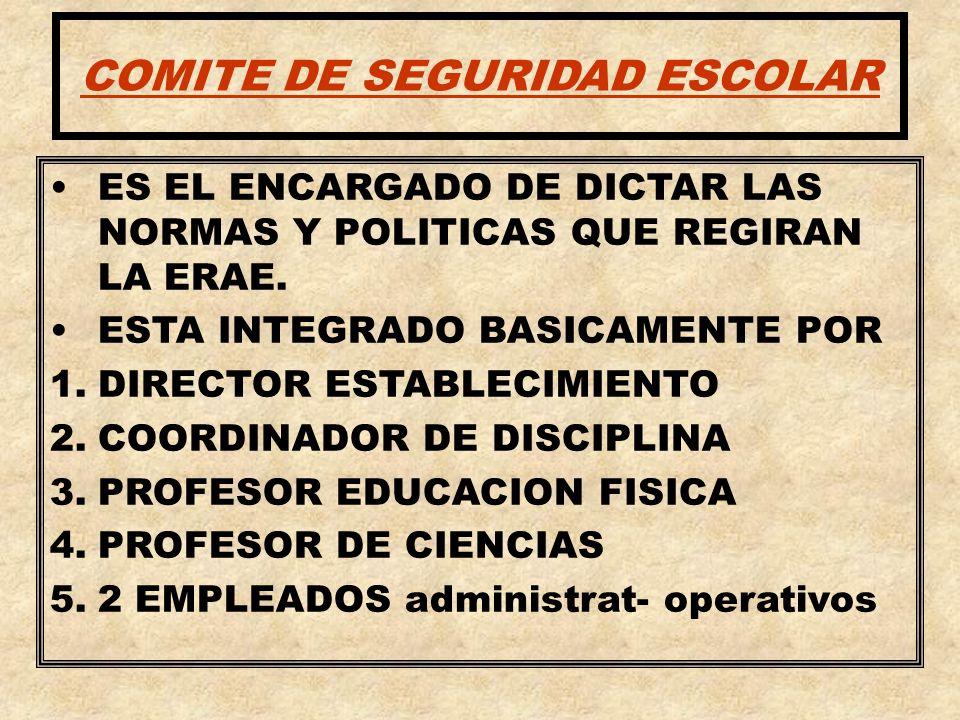 COMITE DE SEGURIDAD ESCOLAR ES EL ENCARGADO DE DICTAR LAS NORMAS Y POLITICAS QUE REGIRAN LA ERAE. ESTA INTEGRADO BASICAMENTE POR 1.DIRECTOR ESTABLECIM