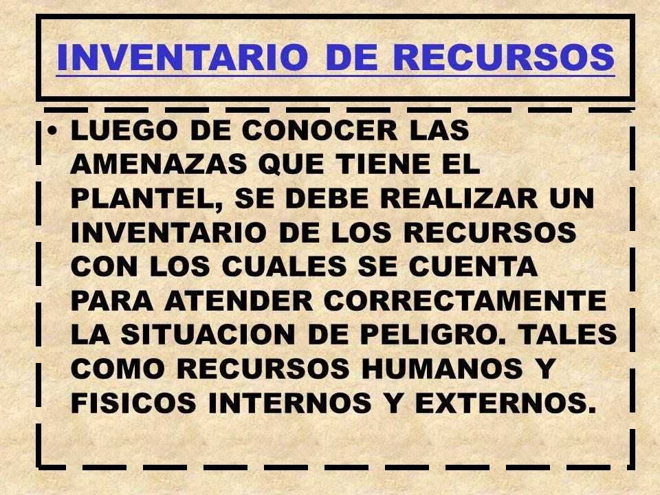 LUEGO DE CONOCER LAS AMENAZAS QUE TIENE EL PLANTEL, SE DEBE REALIZAR UN INVENTARIO DE LOS RECURSOS CON LOS CUALES SE CUENTA PARA ATENDER CORRECTAMENTE