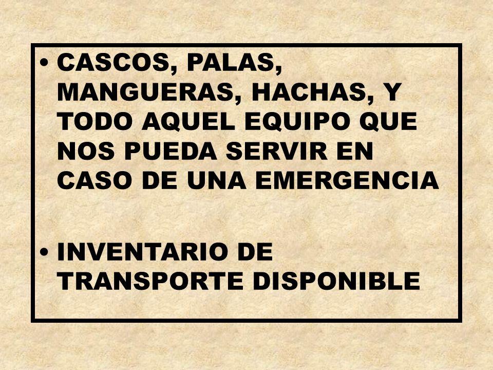 CASCOS, PALAS, MANGUERAS, HACHAS, Y TODO AQUEL EQUIPO QUE NOS PUEDA SERVIR EN CASO DE UNA EMERGENCIA INVENTARIO DE TRANSPORTE DISPONIBLE